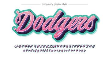 tipografia moderna cursiva 3d rosa e verde vetor