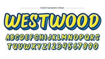 tipografia de pincel em negrito amarelo e azul vetor
