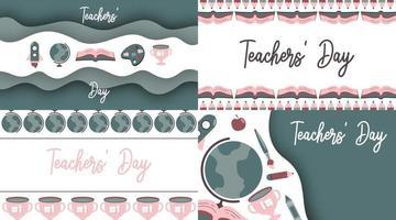 feliz dia dos professores ilustração vetorial com ícone liso de cor suave vetor