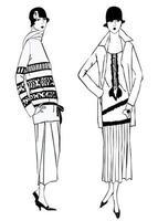 vestido de moda casual elegante mulher 1920 vintage outono look girl 1930 vetor
