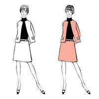 moda casual elegante conjunto feminino moda vintage dos anos 1960 vetor