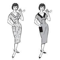 vestido de verão vintage estilo mulher moda menina moda moda anos 1960 vetor