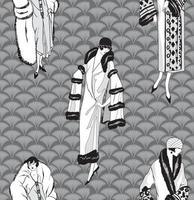 moda vestido menina 1920s 1930s padrão sem costura retro feminino estilo 20s vetor