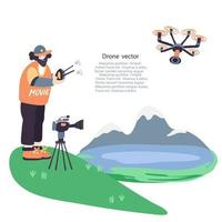 o operador de vídeo fotografando paisagens com um drone vetor