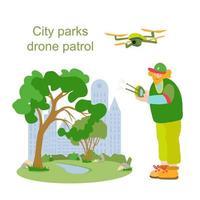 Ranger com drone mantém a ordem no parque da cidade vetor
