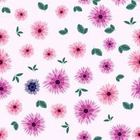 Papel de parede de padrão sem emenda alegre em design de superfície de flores florais vetor