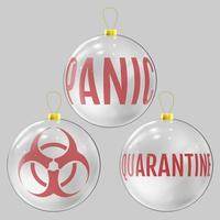 bola de natal de vidro dedicada à pandemia do coronavírus vetor