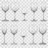 conjunto de taças de vinho vazias. copo de vinho vetor