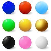 Esferas 3D. bolas brilhantes. bolhas coloridas de plástico vetor