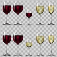 copos cheios e vazios para vinho branco e tinto. vetor