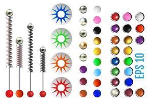 elementos de pinball coloridos realistas vetor