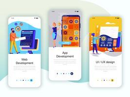Conjunto de kit de interface de usuário de telas de integração para Web e desenvolvimento de aplicativos vetor