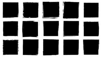grunge de quadros sujos. pinceladas de tinta. aflição texturas de um quadrado vetor