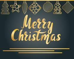 cartão de feliz natal com letras de mão e enfeites de árvore de ano novo vetor