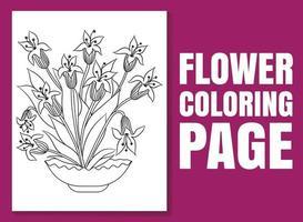 página para colorir de flores para adultos e crianças. vetor