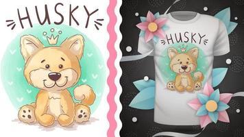 bonito personagem de desenho animado cão husky vetor