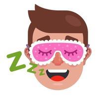 homem dorme com máscara de dormir. homem roncando. vetor