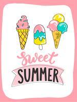 Cartão de verão brilhante com sorvete doce de verão e lettering handdrawn