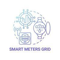 ícone de conceito de gradiente azul de grade de medidores inteligentes vetor