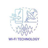 ícone de conceito de gradiente azul de tecnologia wi-fi vetor