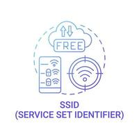 definir ícone de conceito de gradiente azul de identificador de serviço vetor