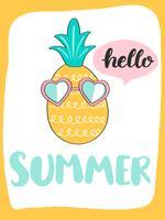 Cartão de verão brilhante bonito com abacaxi e handdrawn lettering