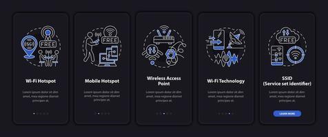 formas de conexão com a internet na tela da página do aplicativo móvel vetor