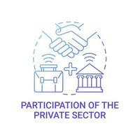 participação do ícone do conceito gradiente azul do setor privado vetor