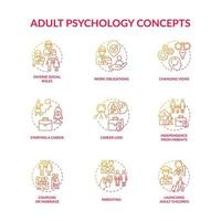 Conjunto de ícones de conceito de relacionamento social e psicologia da idade adulta vetor