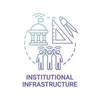 ícone de conceito de gradiente azul de infraestrutura institucional vetor