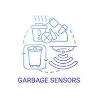 ícone de conceito de gradiente azul de sensores de lixo vetor