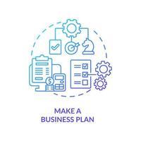 fazer plano de negócios ícone de conceito gradiente azul vetor