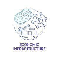 ícone de conceito de gradiente azul de infraestrutura econômica vetor