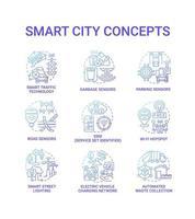 conjunto de ícones do conceito de cidade inteligente gradiente azul vetor