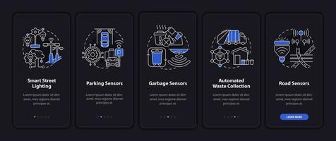 tela da página do aplicativo móvel para gerenciamento automático da cidade inteligente vetor