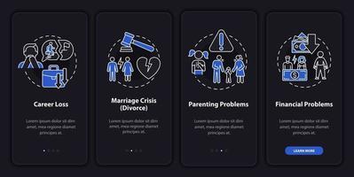 problemas com os pais na tela da página do aplicativo móvel vetor