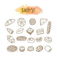 Elementos de padaria. Ilustração de pastelaria. vetor