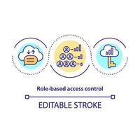 ícone de conceito de controle de acesso baseado em função vetor