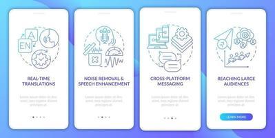 im avançado recurso gradiente azul tela da página do aplicativo móvel de integração vetor