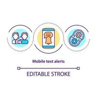 ícone de conceito de alerta de texto móvel vetor