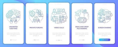 tela da página do aplicativo móvel de integração de mensagens de negócios gradiente azul vetor