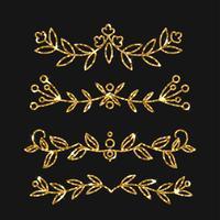 Conjunto de divisores. Vector design ornamentado de ouro. Floreios dourados.