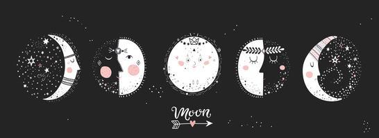 5 estágios da lua. vetor