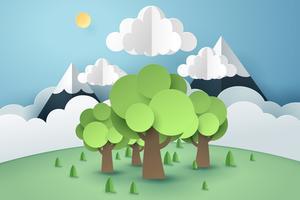Floresta e nuvem, conceito de arte de papel e idéia sustentável ambiente sustentável do mundo vetor