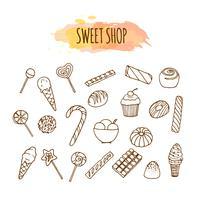 Elementos de loja de doces. Esboço de doces e balas. Ilustração de pastelaria. vetor