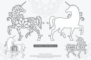 ilustrações vetoriais de mandala de unicórnio vetor