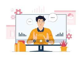 videoconferência, aprendizagem online, ilustração do conceito de trabalho remoto vetor
