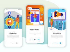 Conjunto de kit de interface de usuário de telas de integração para Marketing, Mídia Social vetor