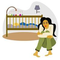 o conceito de depressão pós-parto. mãe cansada chora e se ajoelha vetor