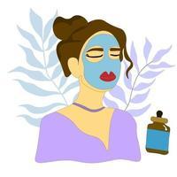 morena em uma máscara cosmética. mulher fazendo um procedimento de cuidado de pele. vetor